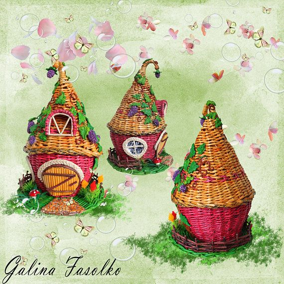 A toy house/ Fairy house Idea for a gift /Miniature Dollhouse/ Wicker house/ Wicker home dekor/ Basket