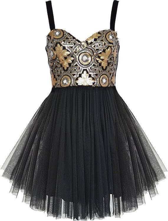Gilded Ballerina Dress: Features a shimmering metallic maze bodice with hand-sewn sequin and bead embellishments, super chic sweetheart neckline, centered rear zip closure, and a flared black ballerina tulle skirt to finish.
