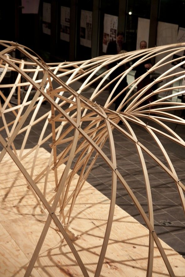 2012 GRIDSHELL Using parametric tools, the design was developed and analyzed to minimize material waste while maximizing its architectural presence in the space.