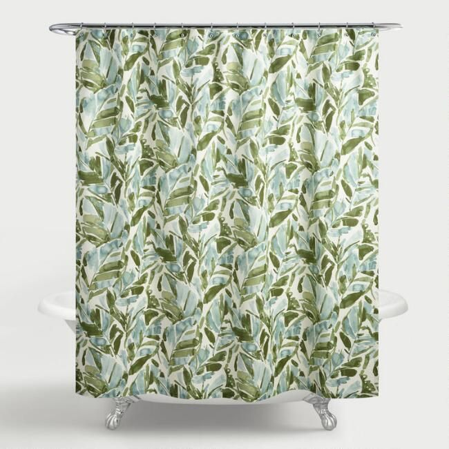 Our Exclusive Shower Curtain Features Green And Ivory Palm Leaves