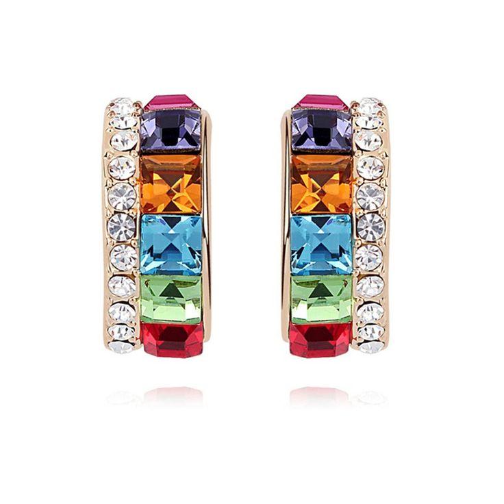 Austrian Crystal Stud Earrings - Beautiful As Flower