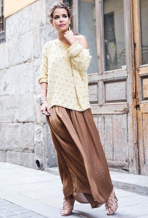 юбка в пол, весенний женский джемпер, стиль 70-х, стильный образ на каждый день, модные вещи весна лето, модные тренды 2015 года, уличная мода весна лето, street style, MsKnitwear, Knitwear (фото 1)