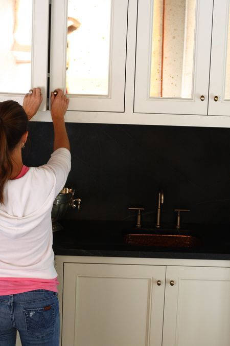 use antiqued mirrors in m bath cabinets...Antiques Glasses, Butler Pantries, Small Kitchens, Antiques Mirrors, Mirrors Cabinetry, Mirrors In Kitchens, White Cabinets, Kitchens Cabinets, Cabinets Doors