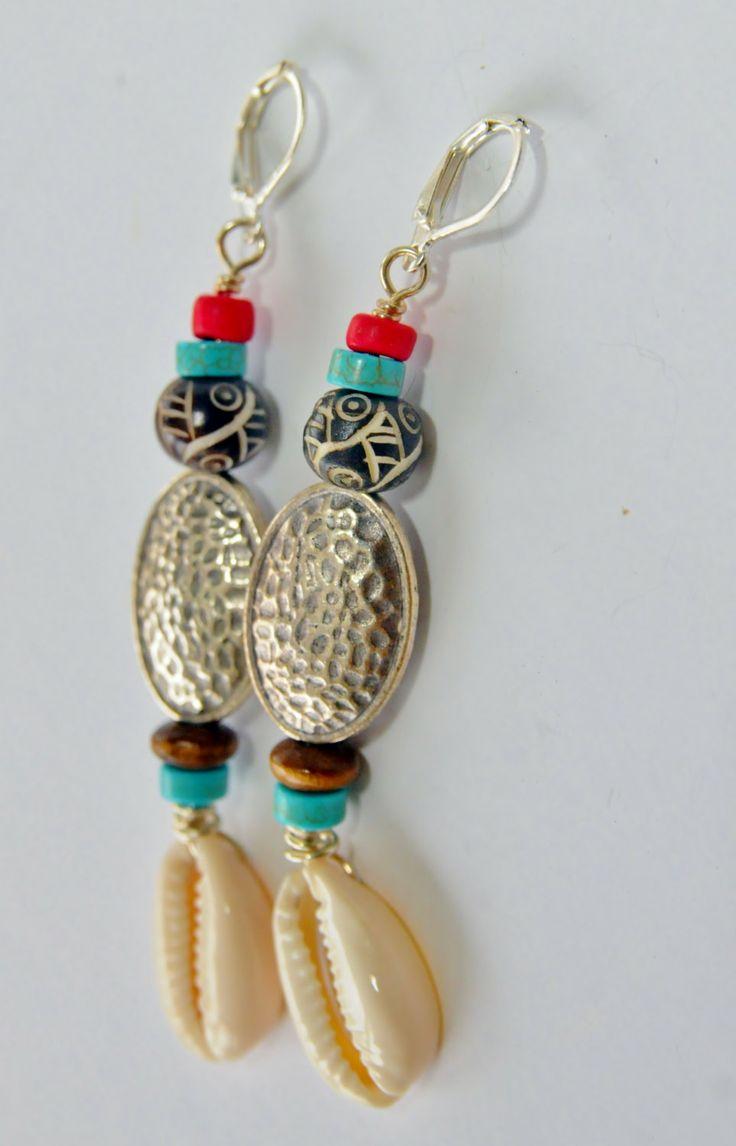 Silver+cowrie+shell+dangle+earrings+tribal+by+zencustomjewelry,