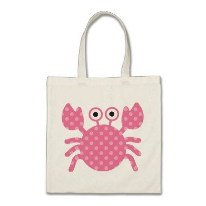 Cute Pink Polka Dot Crab Tote Bag - baby gifts child new born gift idea diy cyo special unique design
