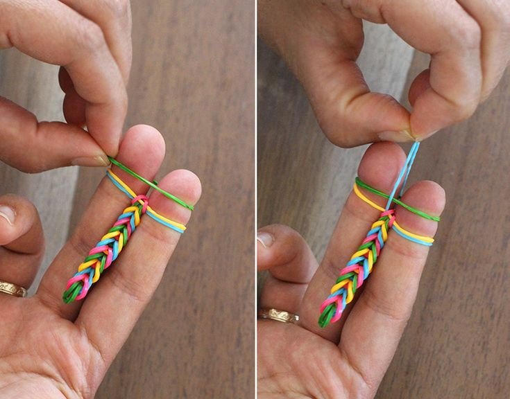 friendship bracelet directions made from small, colorful rubber bands