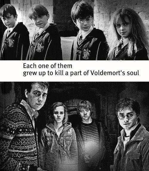 """""""Chacun d'eux a grandit pour tuer une partie de l'âme de Voldemort"""" :D"""