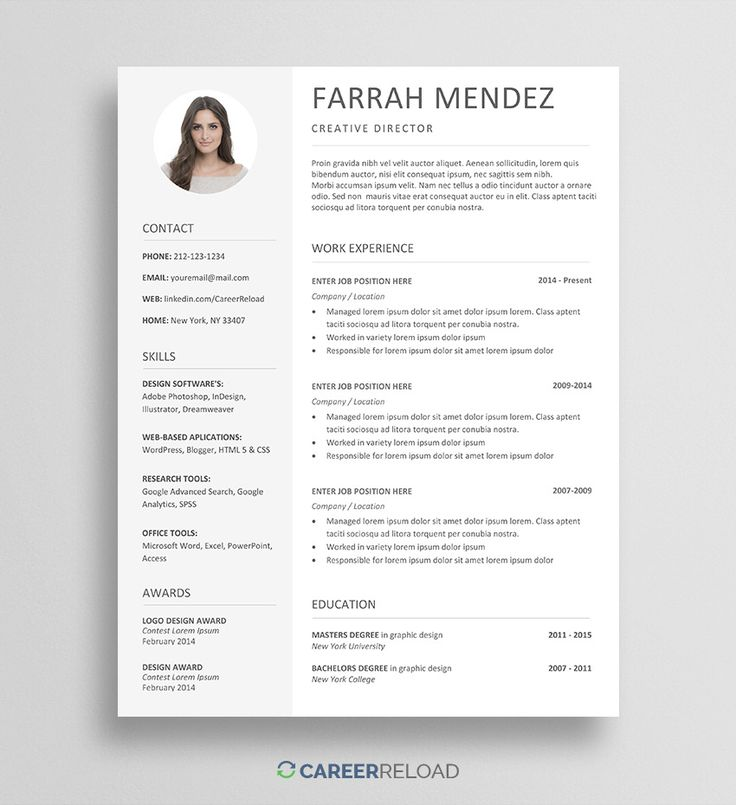 Free Resume Template for Word in 2020 Free resume