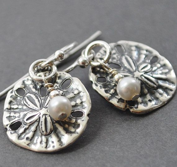 Silver sand dollar earrings nautical jewelry by for Dollar jewelry and more