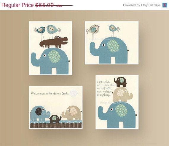 Baby Room Decor, Nursery Room Decor, Baby Elephant Nursery Room // Set of 4 8x10 Prints // Blue, Brown, Teal, Cream // Lamb & Ivy Bedding on Etsy, R$126,43