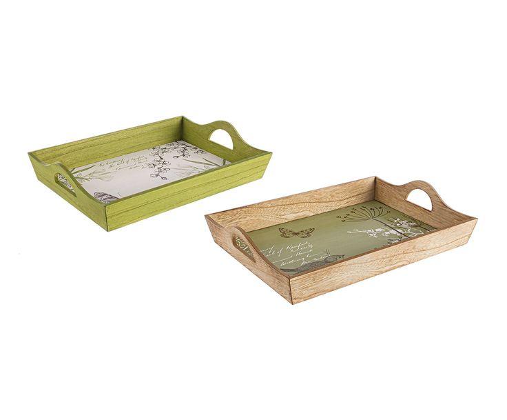Set de 2 bandejas de madera dm hollis verde y beige for Bandejas de madera