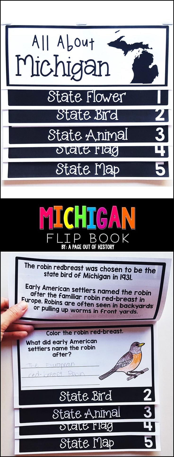 This Michigan state flip book is an interactive and meaningful activity to teach your students all about the State of Michigan with this interactive flipbook! This resource includes basic information about Michigan symbols, as well as a map where your students will highlight important cities in Michigan.