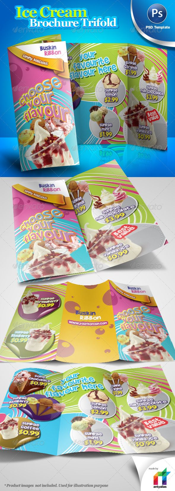 Ice Cream Brochure Trifold PSD Template - Informational Brochure Template PSD. Download here: http://graphicriver.net/item/ice-cream-brochure-trifold-psd-template/241535?s_rank=746&ref=yinkira