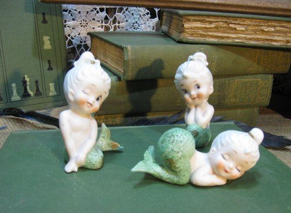 Bradley Mermaids 3 figurines 50s vintage Shabby by funkomavintage