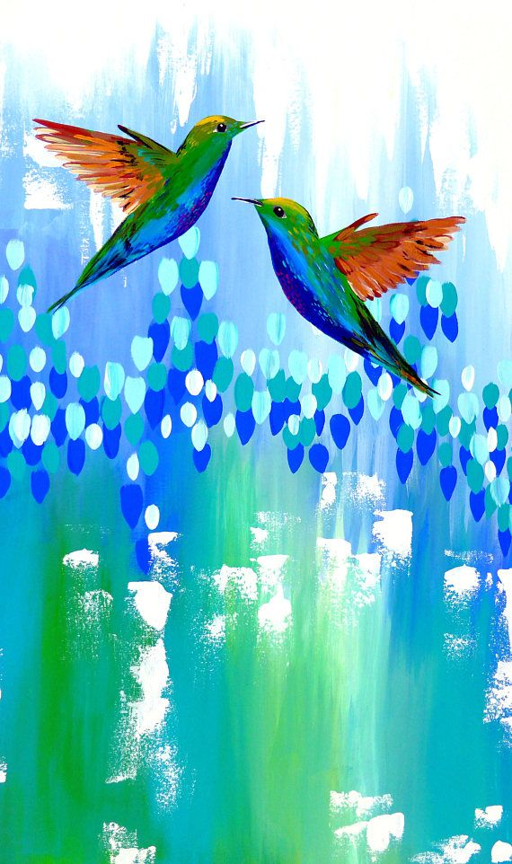 From SheerJoy.etsy.com , hummingbirds, hummingbird, blue and green, abstract, painting, green painting , green paintings, green ,canvas, canvas art