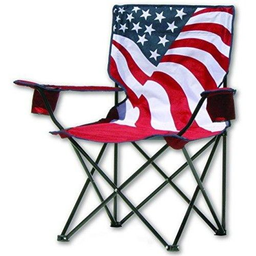 Quik Chair US Flag Folding Chair  Lightweight and easy to pack and set up, our folding armchair goes everywhere and sets up in less than a minute. Perfect for camping, the park, sports games or just the backyard. Features : Patriotic flag print with sturdy steel frame *600 denier chair fabric *Carry bag w/shoulder strap *2 fabric cup holders 225lbs weight limit Color : US Flag