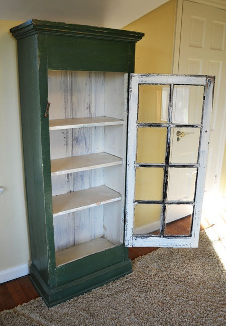 Use glass window frame for a door, great idea!
