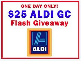 Hurry and enter this #Aldi Giveaway for a Chance to #win $25 Aldi Gift Card **ends today 8/15** : #CurrentGiveaways, #EntertoWin Check it out here!!