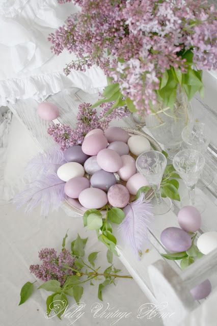 Easter centerpiece... lilacs and lavender purple eggs