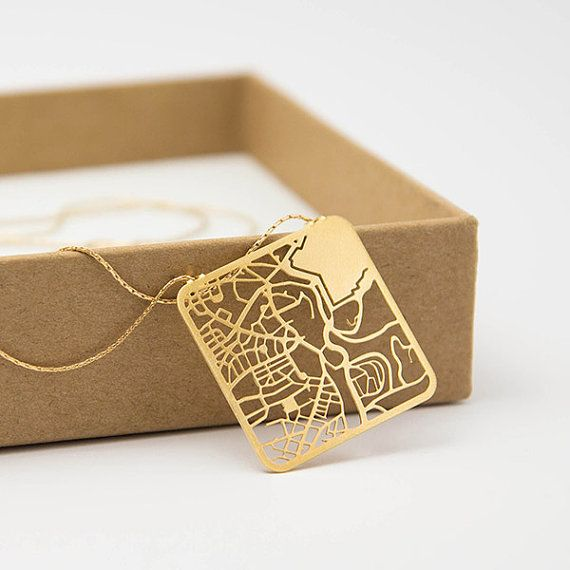 Jerusalem Map Necklace Gold or Silver Minimalist by TaliaSari