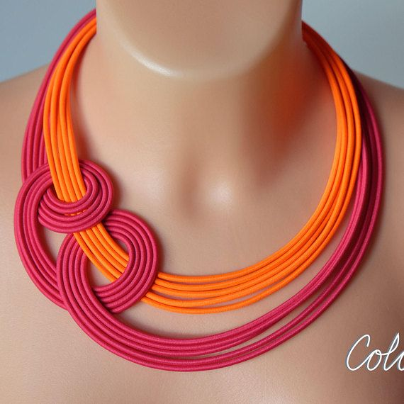 Neon orange and pink knot necklace Unique knotted necklace