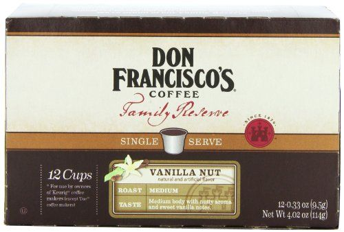 Don Francisco Family Reserve Single Serve Coffee, Vanilla Nut, 12 Count - http://thecoffeepod.biz/don-francisco-family-reserve-single-serve-coffee-vanilla-nut-12-count/