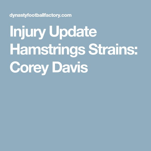 Injury Update Hamstrings Strains: Corey Davis