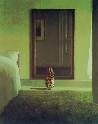 michael sowa. bunny dressing himself. look at his big bed and mirror. this makes me smile.