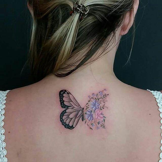 Mariposa y Flores - Tatuajes para Mujeres. Encuentra esta muchas ideas mas de Tattoos. Miles de imágenes y fotos día a día. Seguinos en Facebook.com/TatuajesParaMujeres!