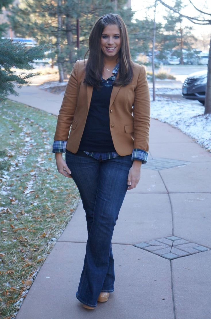 "blazer, V-neck sweater, plaid shirt, jeans, nude heels #curvy ""if you like my curvy girl's fall/winter closet, make sure to check out my curvy girl's spring/summer closet."" http://pinterest.com/blessedmommyd/curvy-girls-springsummer-closet/pins/"
