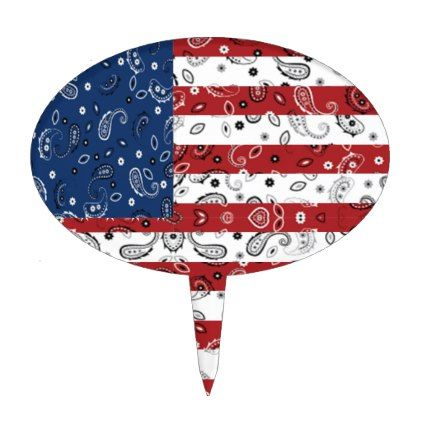 Bandana Pattern American Flag Cake Topper - patterns pattern special unique design gift idea diy