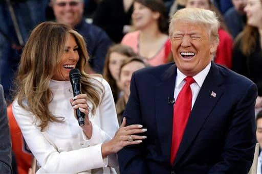 Melania and Donald Trump...Somebody must have said that he wasn't going to win... And DJT heehawed!