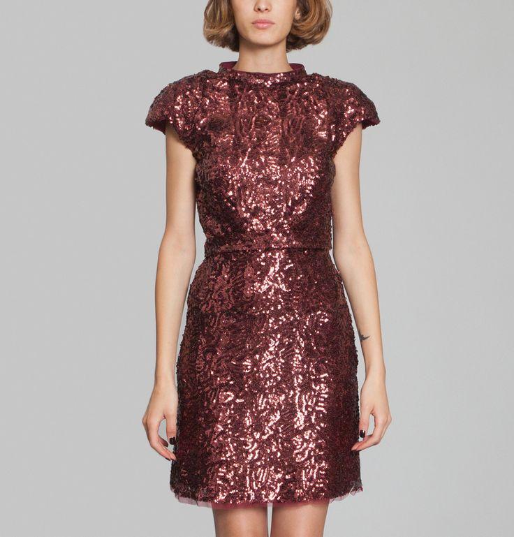 Robe Paillettes Coquelicot Tara Jarmon en vente chez L'Exception
