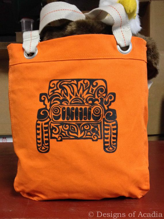 Jeep Tribal Tattoo Design Bright Colored Allie Tote Bag