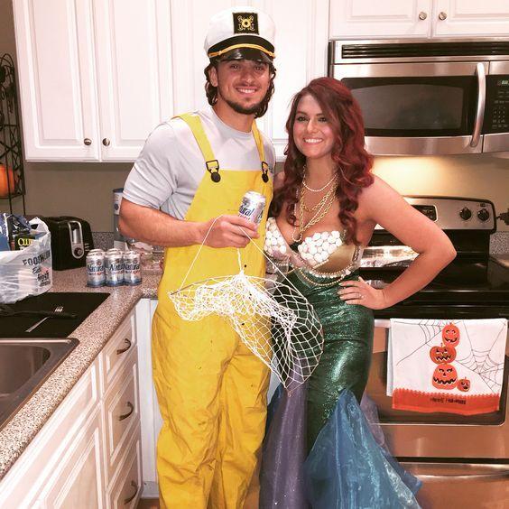 Mermaid and Fisherman Halloween Costume.
