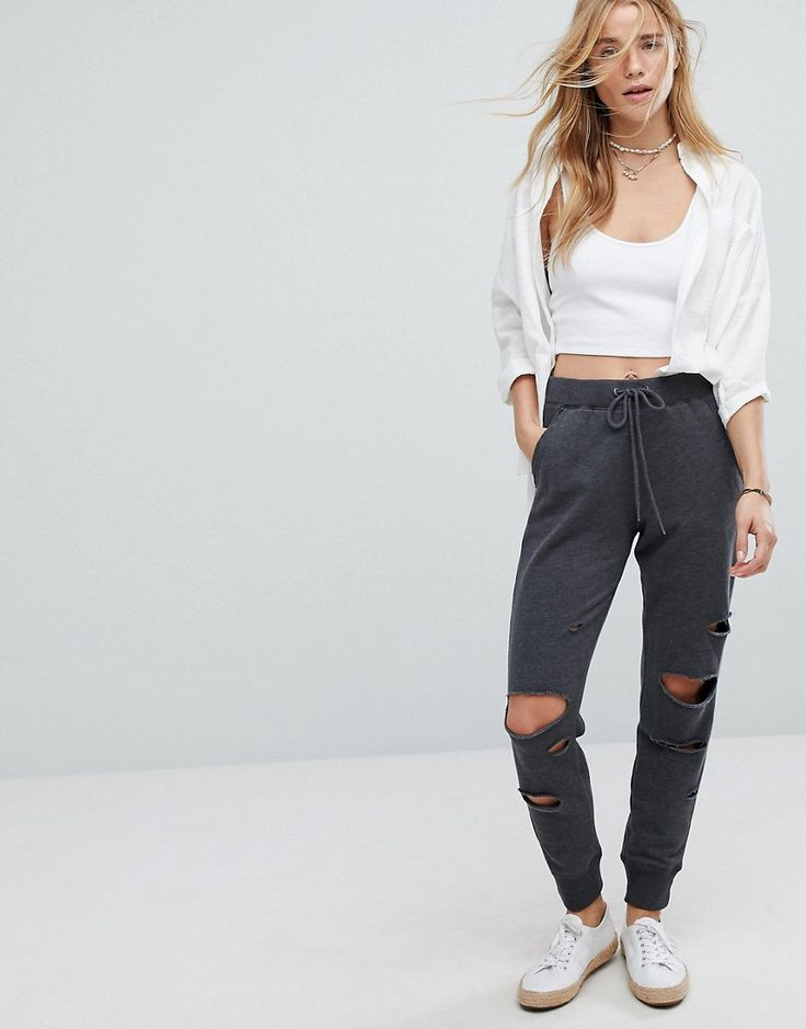 Hollister Tracksuit Pant With Distressed knees - Gray