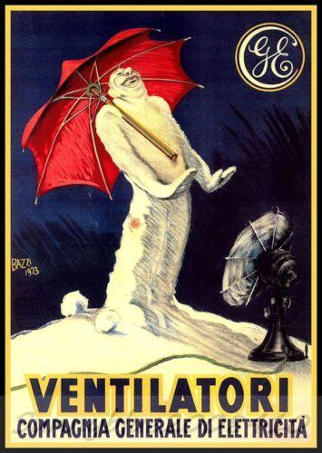 GE Ventilatori 1925 Italian Vintage Poster