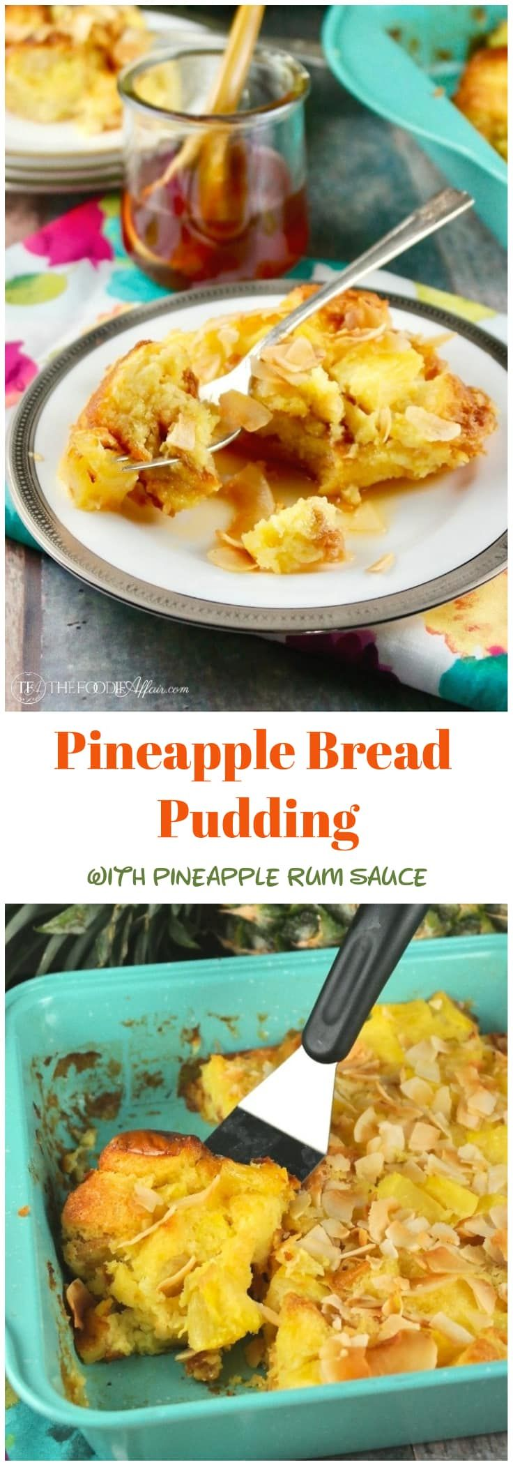 Tropical pineapple bread pudding with a simple pineapple rum sauce. This easy recipe is made with sweet bread, coconut flakes, pineapple pieces, eggs and butter. Enjoy for brunch!