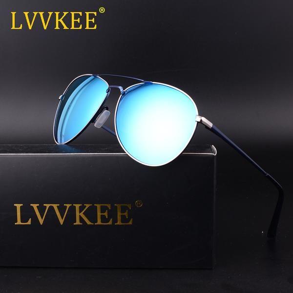2018 LVVKEE Brand Men's Sunglasses pilot Men's HD Sunglasses Polarized Brand High Quality Sun glasses aviator With Case Aviation