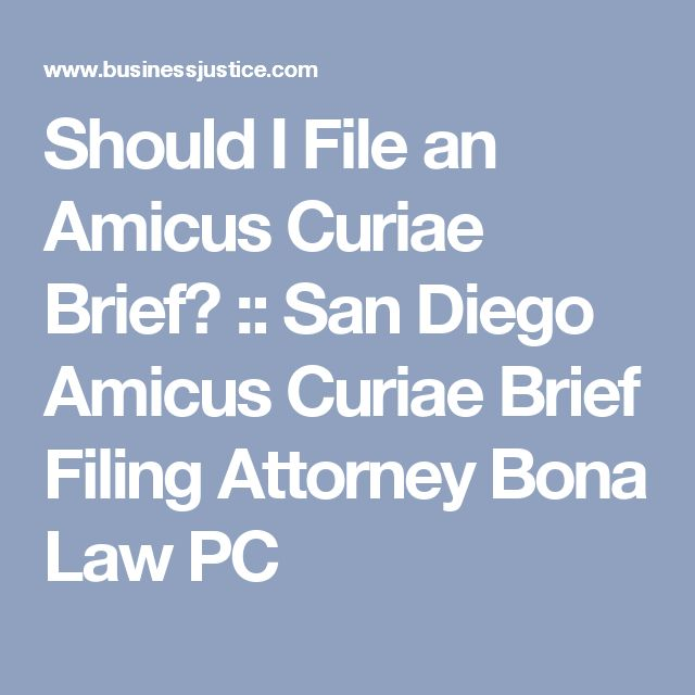 Should I File an Amicus Curiae Brief? :: San Diego Amicus Curiae Brief Filing Attorney Bona Law PC