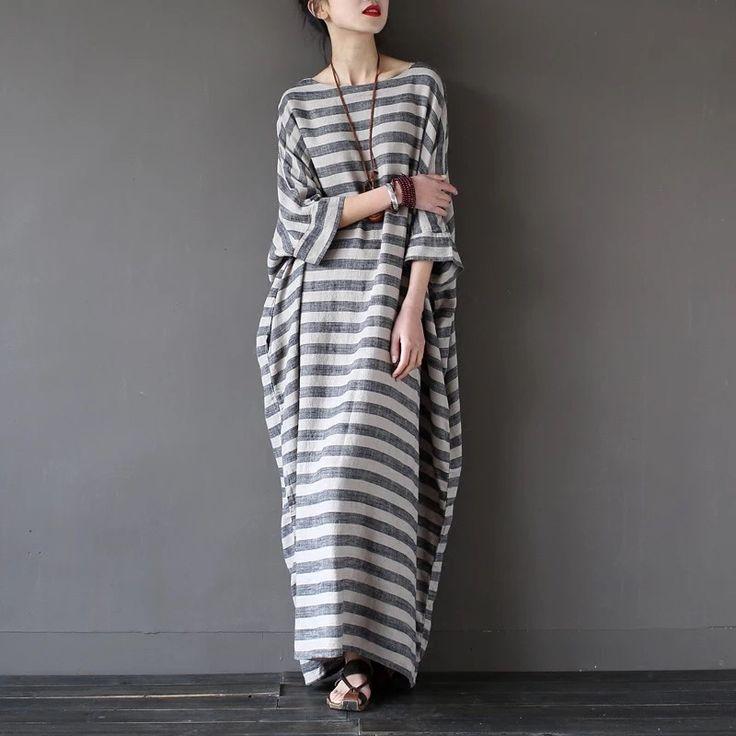 Stripe long loose dress summer clothes