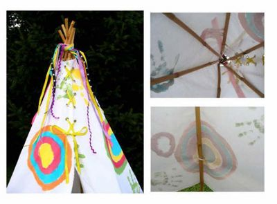 DIY teepee.  I love that the kids get to paint it and that it easily comes apart.