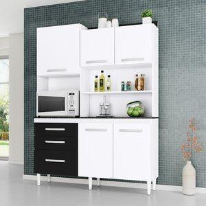 Armário de Cozinha 5 Portas Mila Aramóveis Branco/Preto