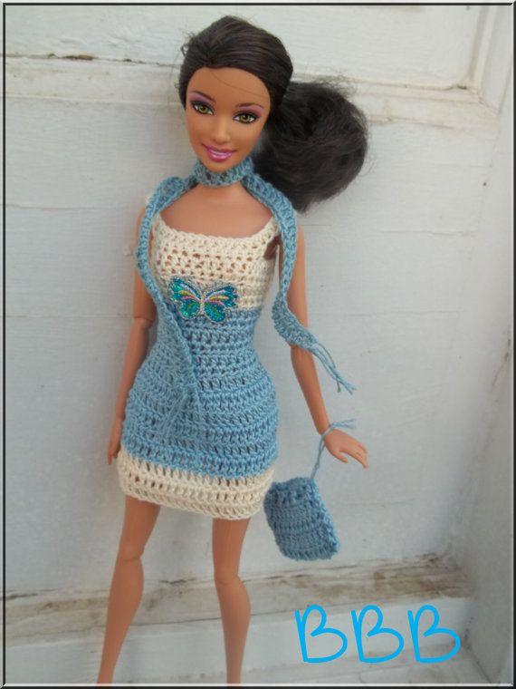 Crochet Barbie Clothes Cream and Blue by BarbieBoutiqueBasics