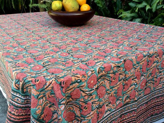 Cotton Tablecloth,Hand Blocked Indian Print Floral Tablecloth,Green  Tablecloth,Indian Print,Indian Tablecloth,Rectangle 59x86