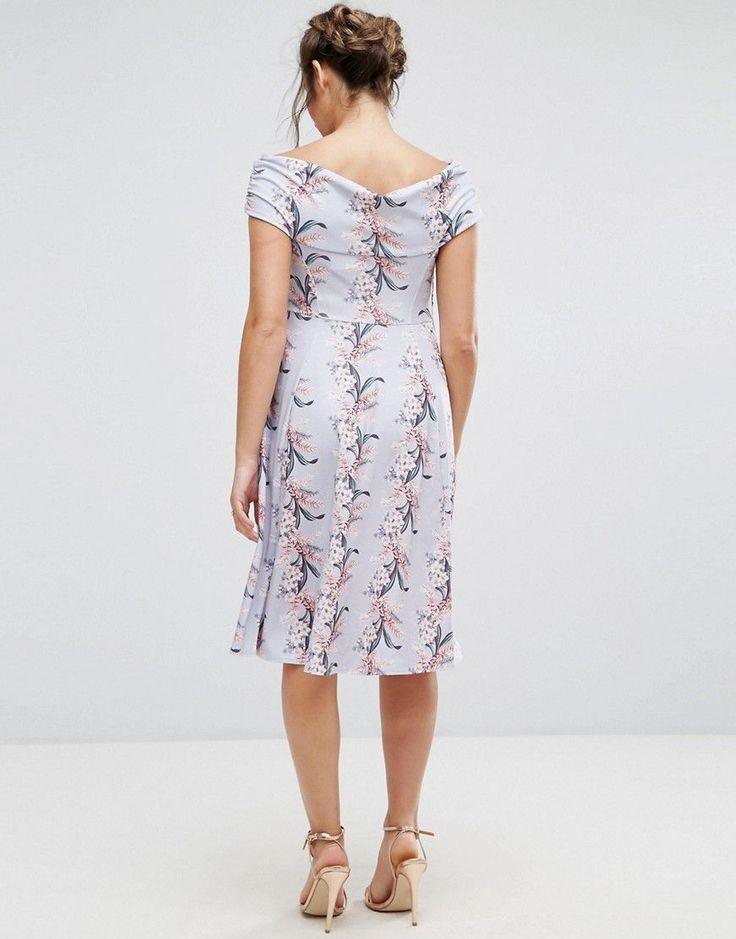 ASOS Maternity Wrap Bardot Skater Dress in Floral Print - Multi