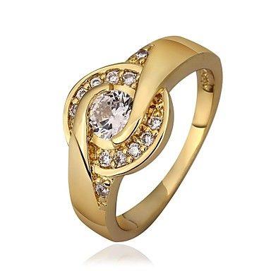 Női Fashion Elegant Aranyozott Zircon Intarziás Ring (Gold / Gold-Pink) – USD $ 4.99
