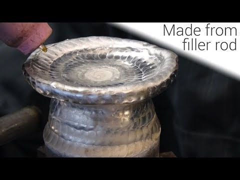 TIG Welding Aluminum- Manual 3D Printing With a TIG Welder- Incense/candle holder - YouTube