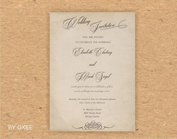 Printable Wedding invitation template Vintage paper by Oxee