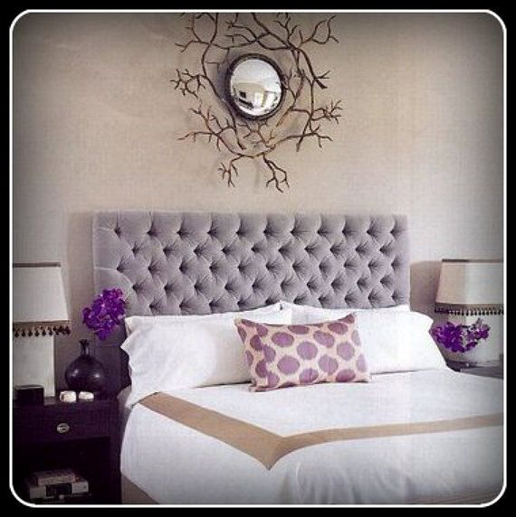 custom upholstered headboard with diamond tufting shown in a king size and in light gray